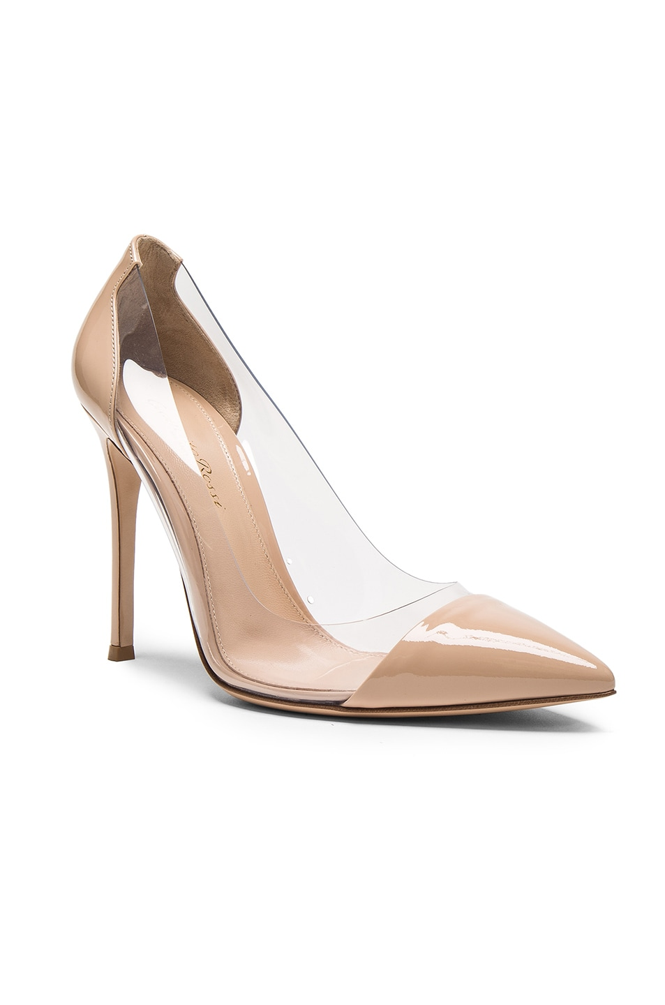 Image 2 of Gianvito Rossi Patent Leather Plexi Pumps in Nude