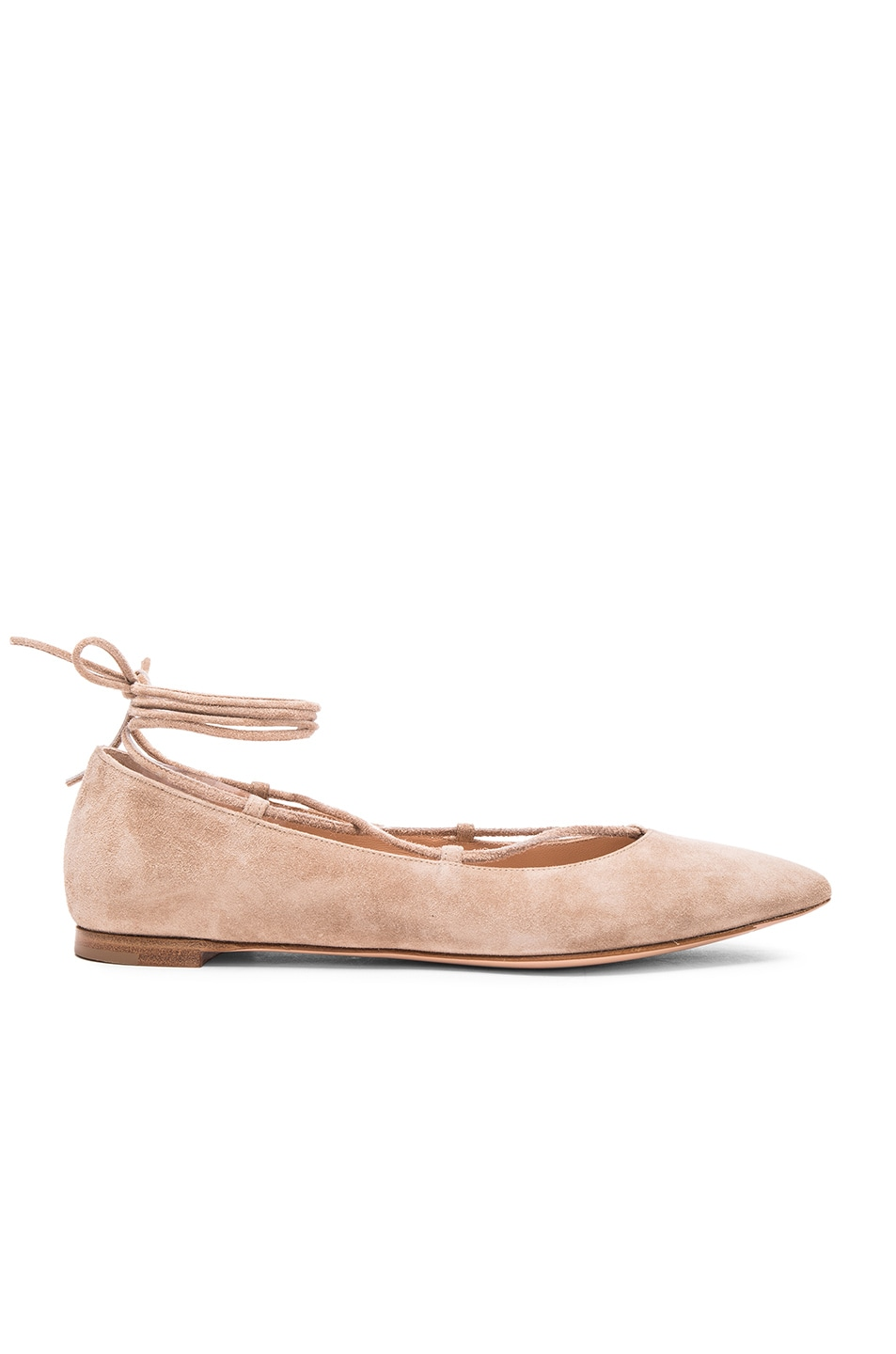 Image 1 of Gianvito Rossi Suede Femi Flats in Bisque