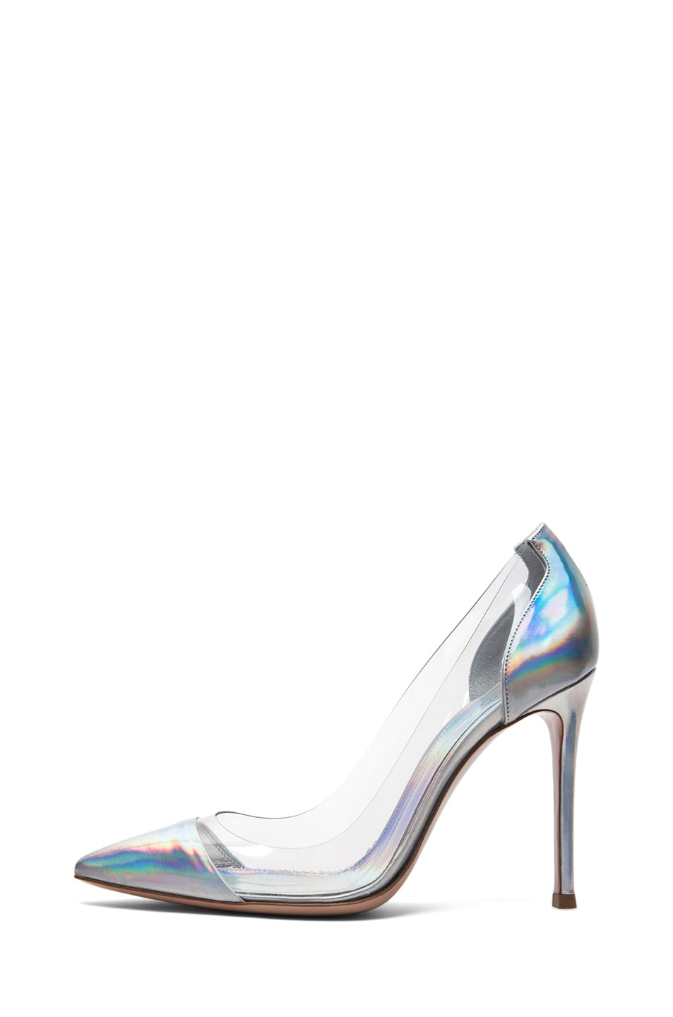 Image 1 of Gianvito Rossi Leather & Plexy Metallic Pumps in Silver
