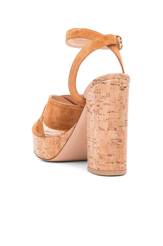 7082cca165d Image 3 of Gianvito Rossi Suede Suzie Platform Sandals in Luggage   Cork