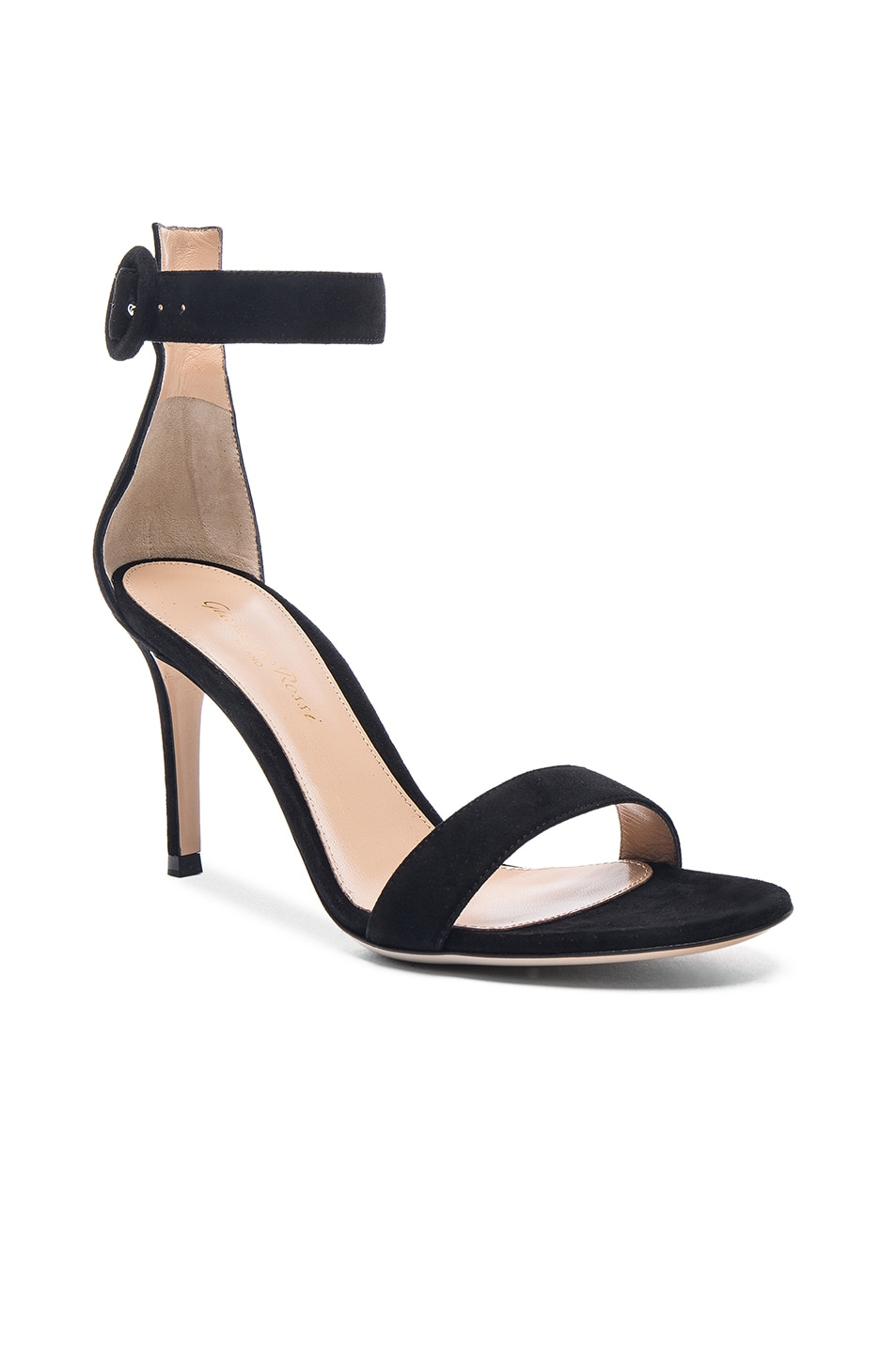 Image 2 of Gianvito Rossi Suede Portofino Heels in Black