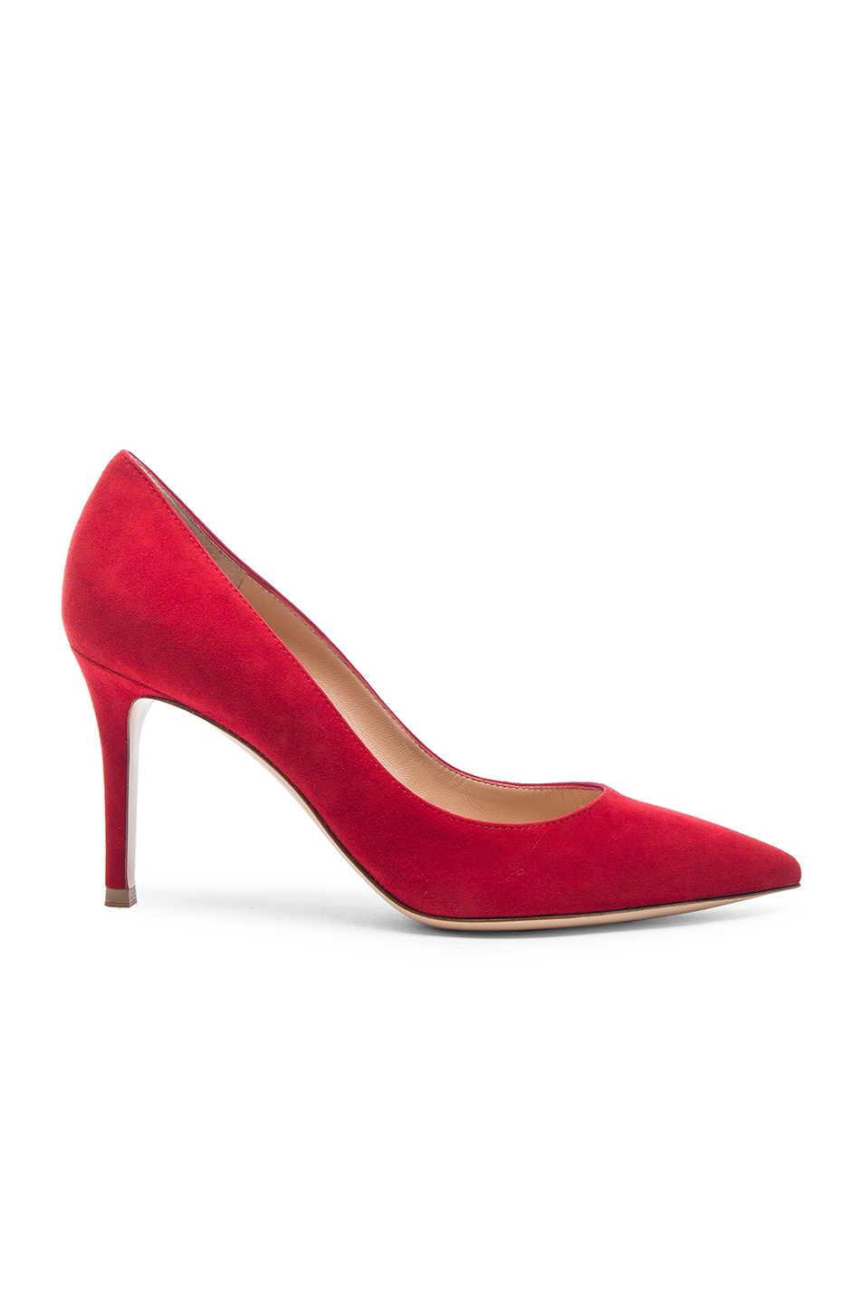 Image 1 of Gianvito Rossi Suede Gianvito Pumps in Tabasco Red