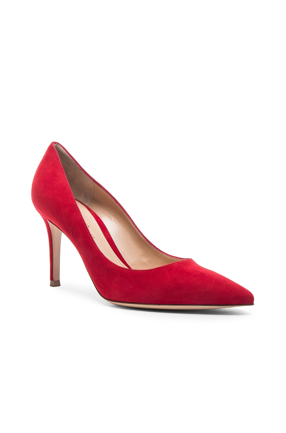Image 2 of Gianvito Rossi Suede Gianvito Pumps in Tabasco Red