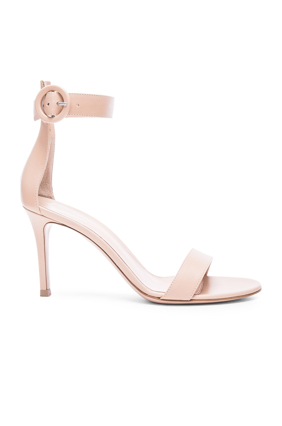Image 1 of Gianvito Rossi Leather Ankle Strap Heels in Nude