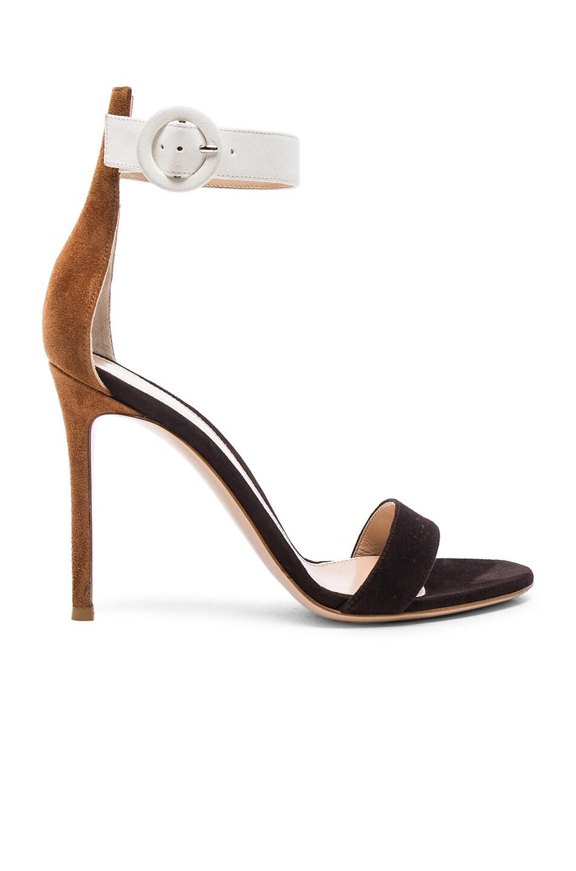 Image 1 of Gianvito Rossi Tri Color Suede Portofino Heels in Luggage, Monka & Off White
