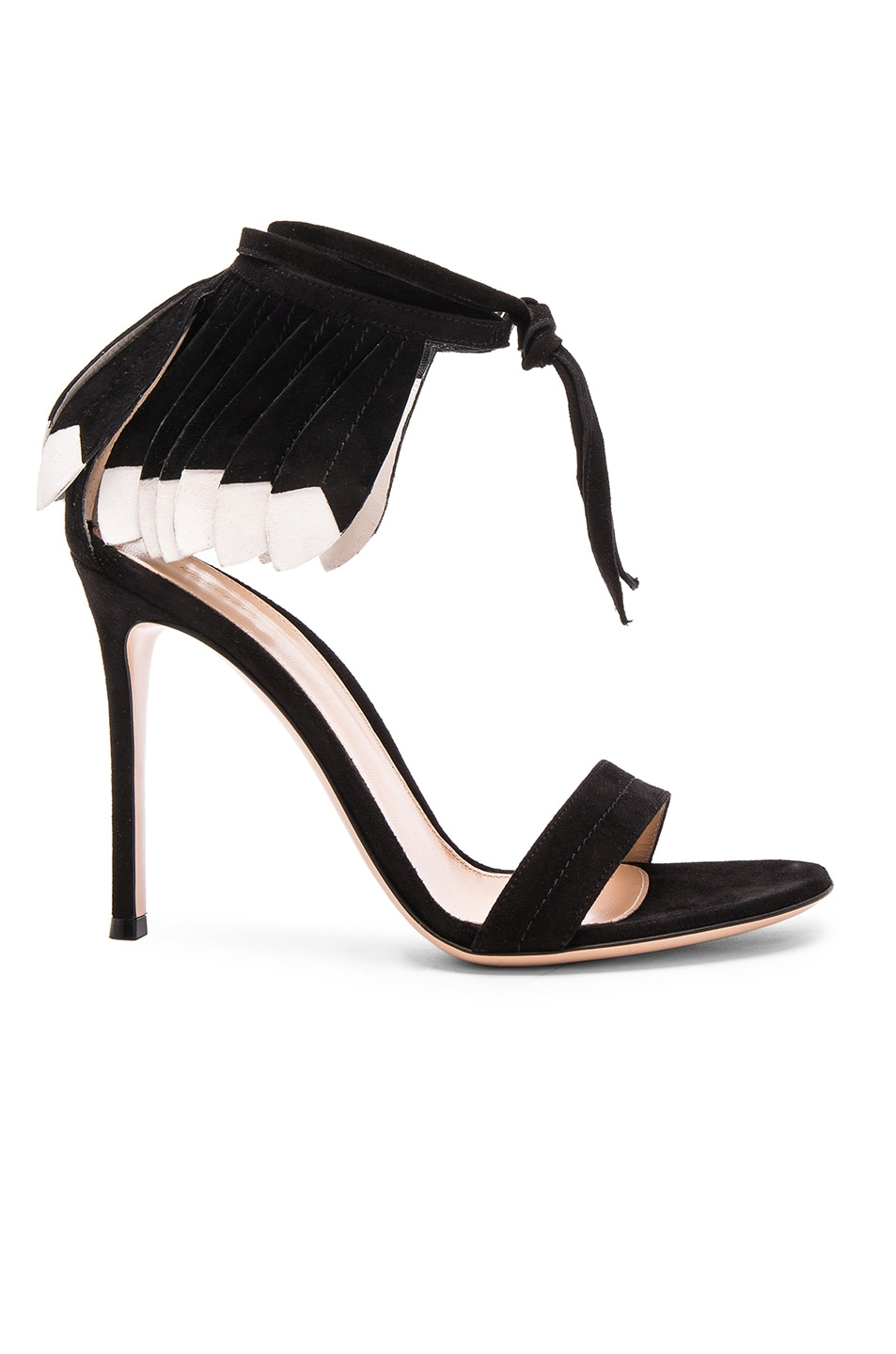 Image 1 of Gianvito Rossi Suede Feather Sandals in Black & White