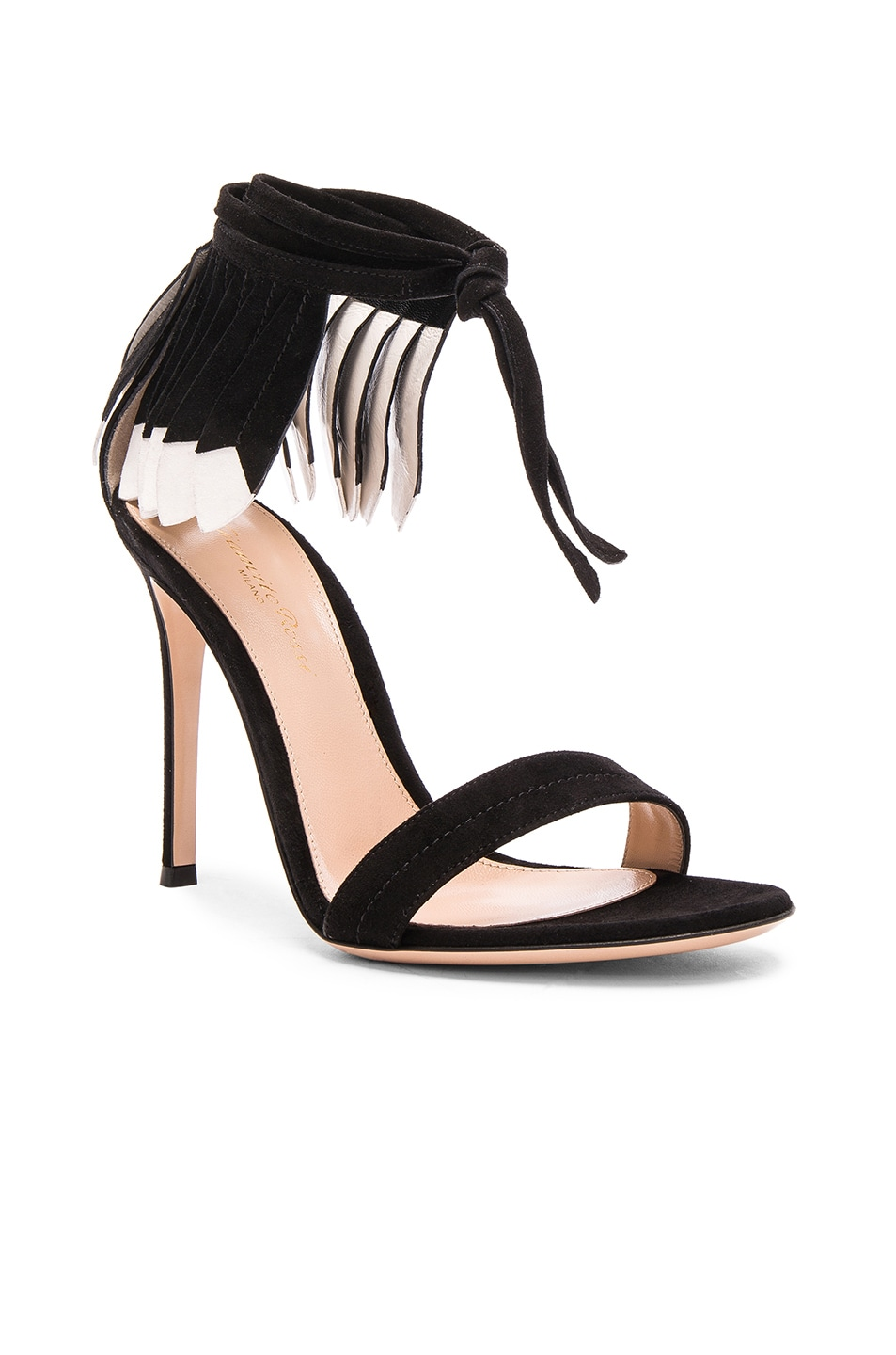 Image 2 of Gianvito Rossi Suede Feather Sandals in Black & White