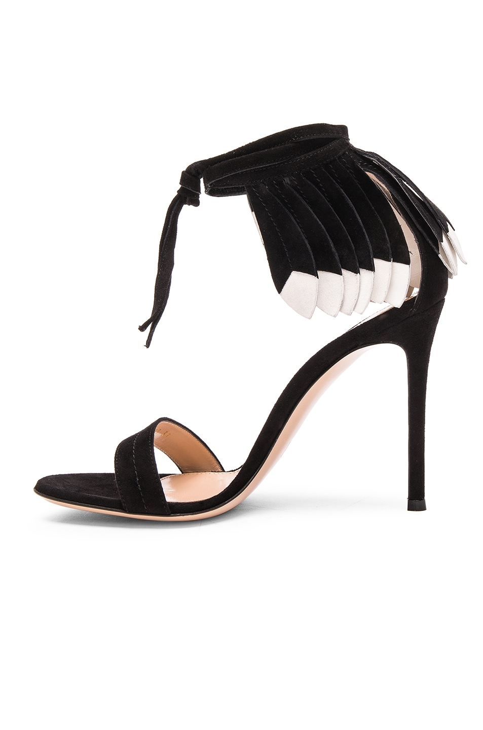 Image 5 of Gianvito Rossi Suede Feather Sandals in Black & White