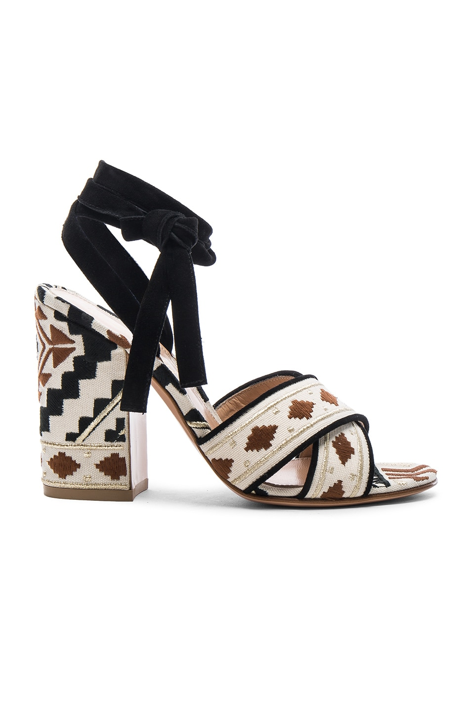 Image 1 of Gianvito Rossi Cheyenne Printed Heels in Black