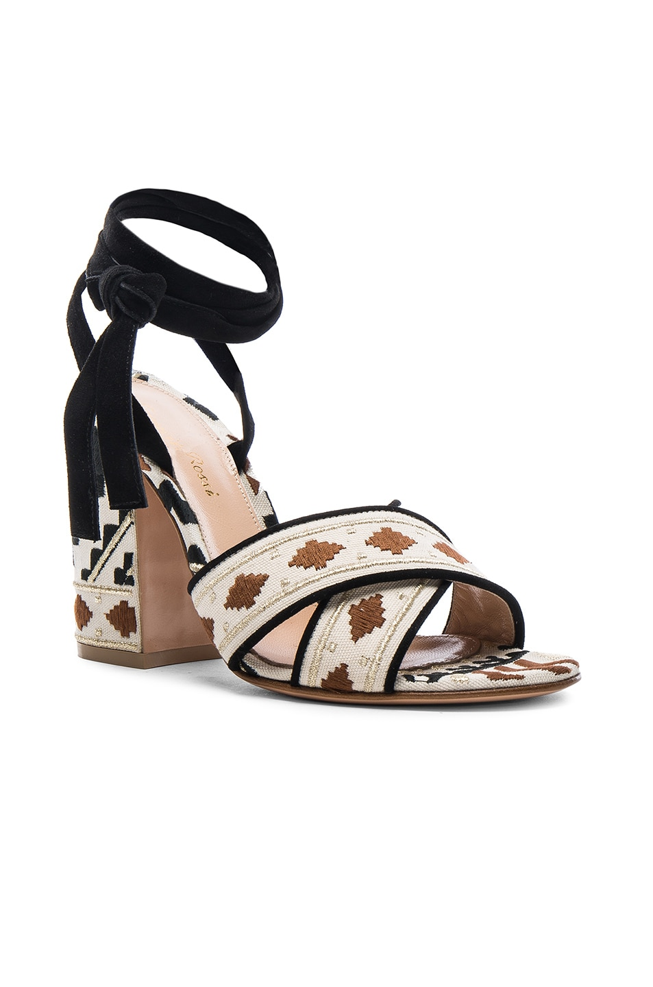 Image 2 of Gianvito Rossi Cheyenne Printed Heels in Black