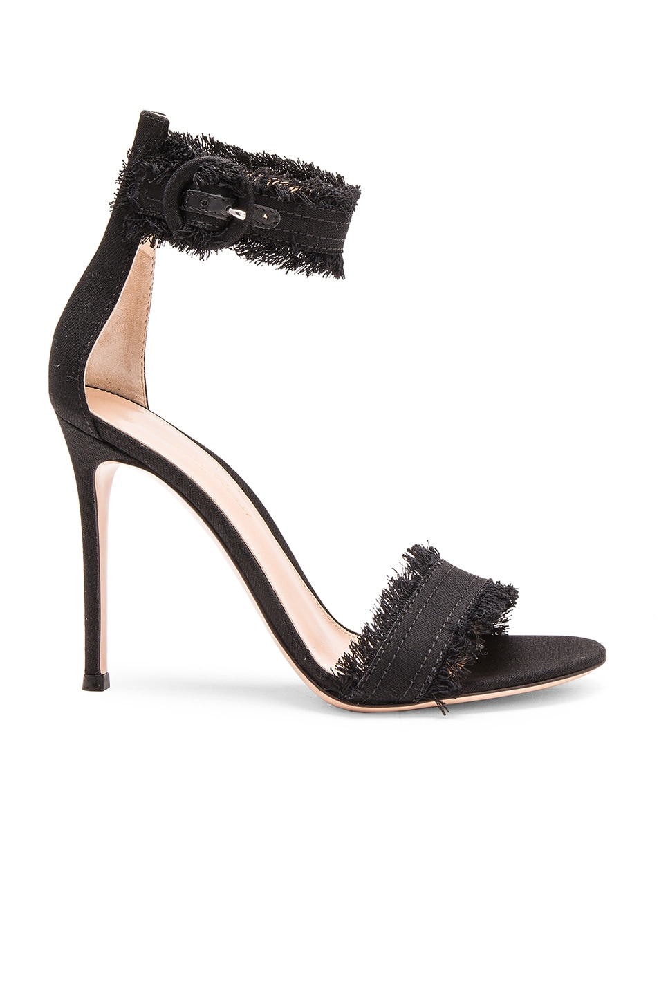 Image 1 of Gianvito Rossi Denim Lola Heels in Dark Black
