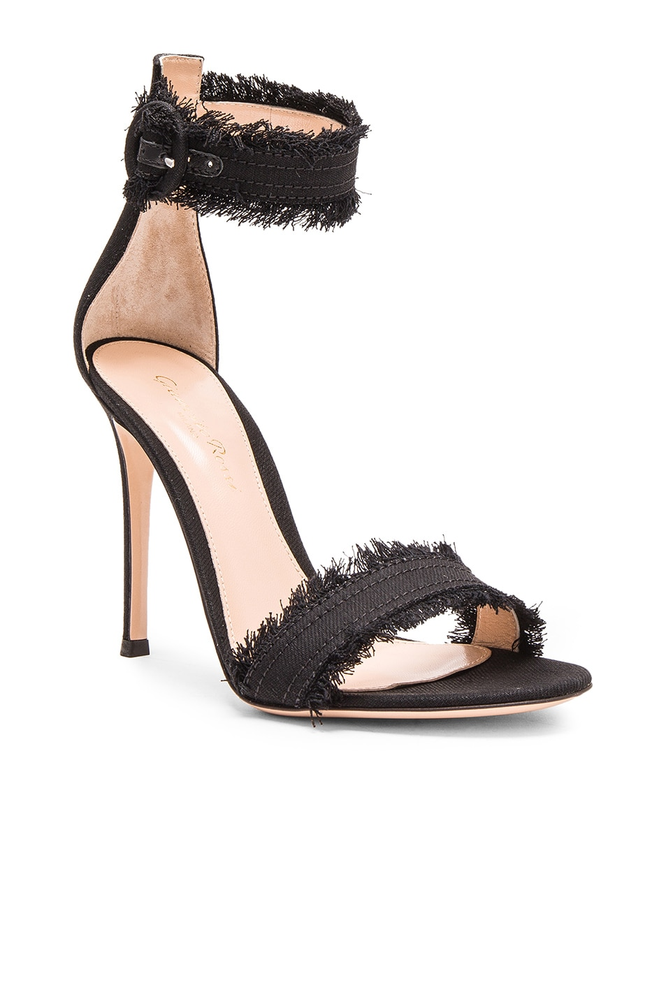 Image 2 of Gianvito Rossi Denim Lola Heels in Dark Black