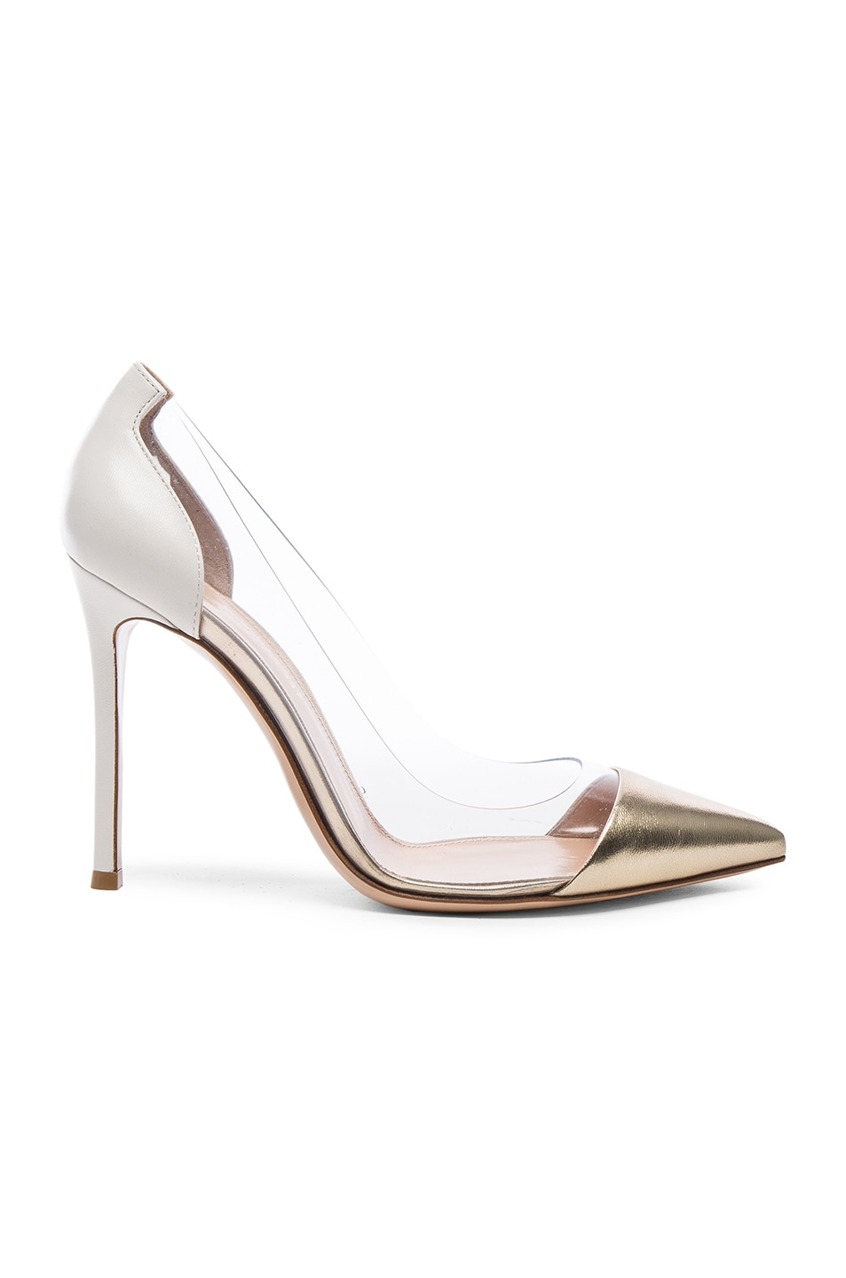 Image 1 of Gianvito Rossi Leather Plexi Pumps in Mekong & Off White