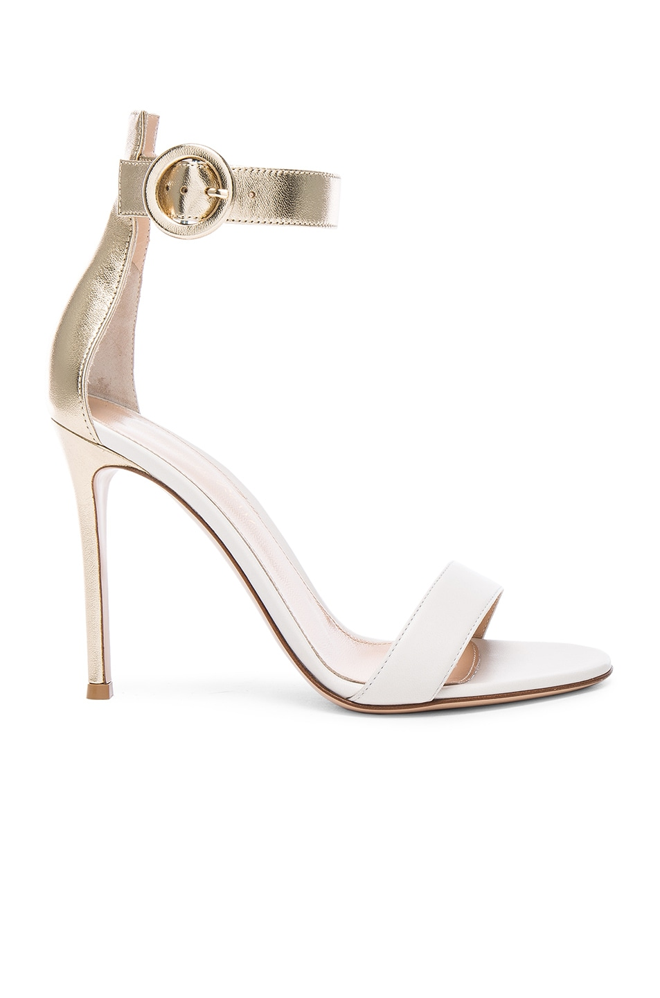 Image 1 of Gianvito Rossi Leather Portofino Heels in Mekong & Off White