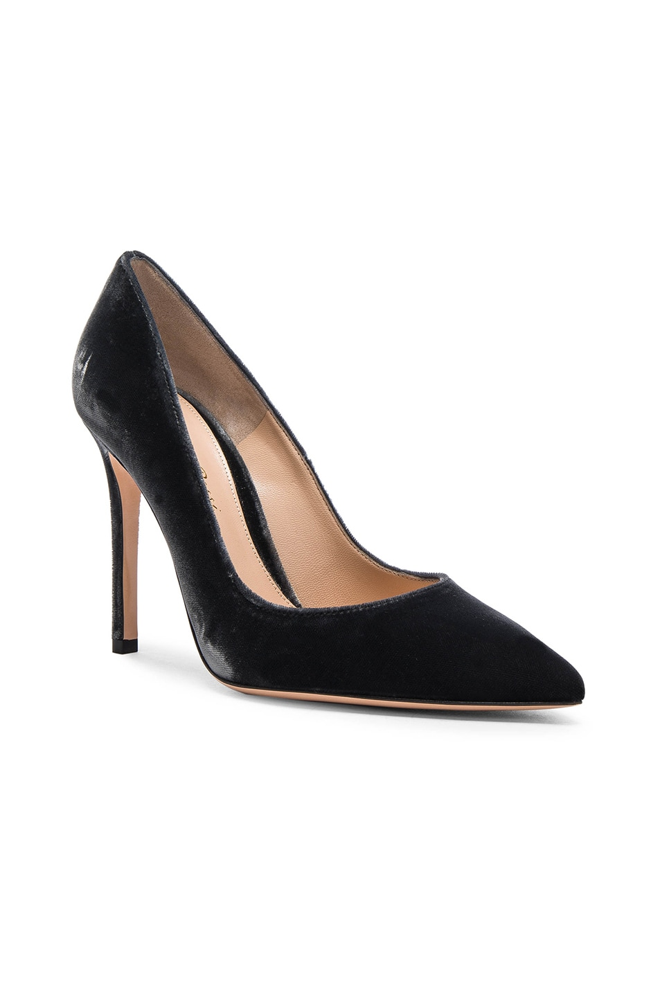 Image 2 of Gianvito Rossi Velvet Pumps in Grey