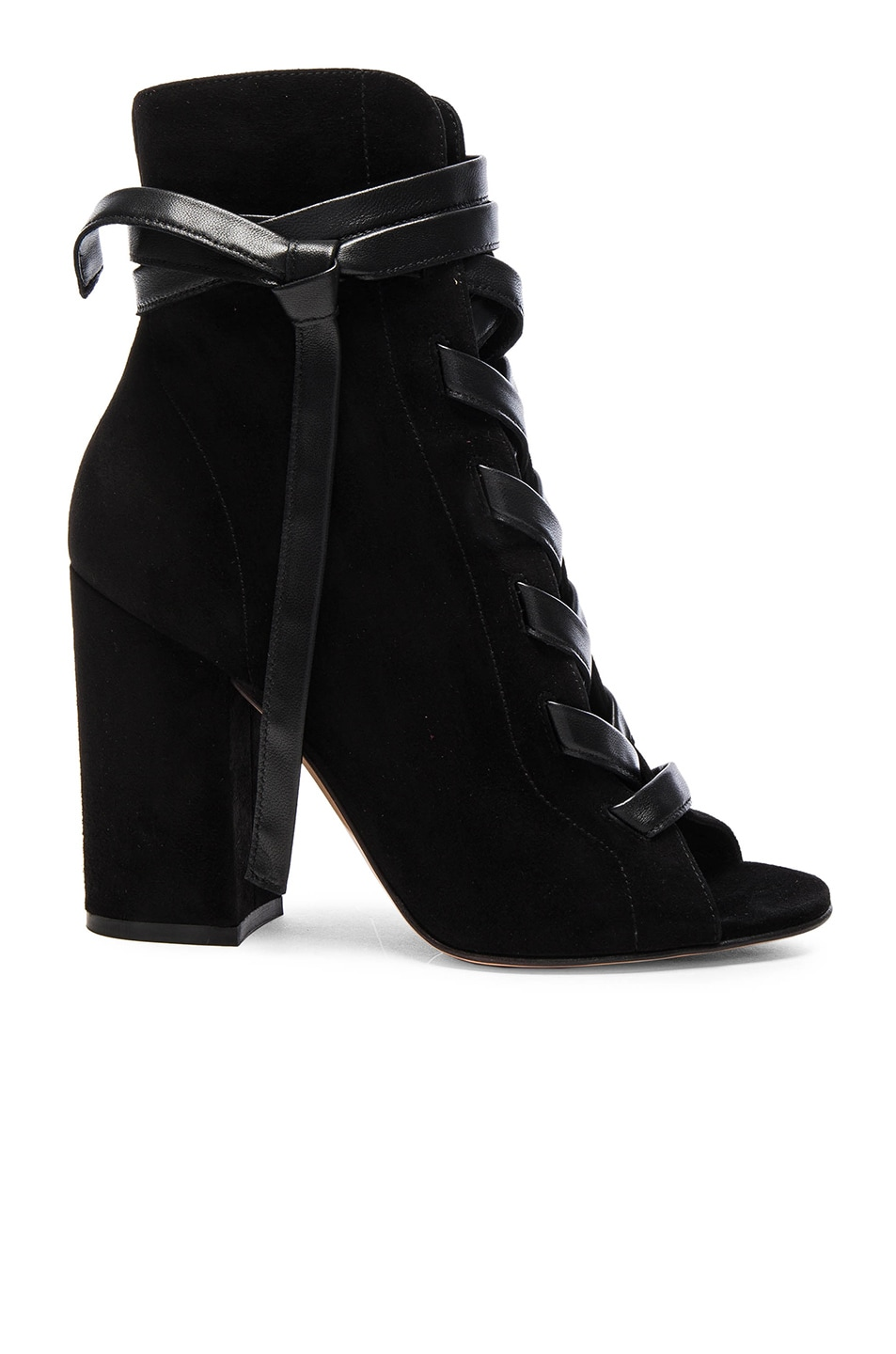 Image 1 of Gianvito Rossi Suede Lace Up Booties in Black