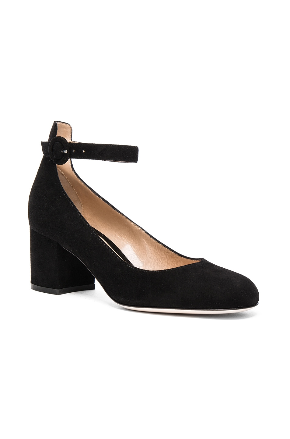 Image 2 of Gianvito Rossi Suede Ankle Strap Flats in Black