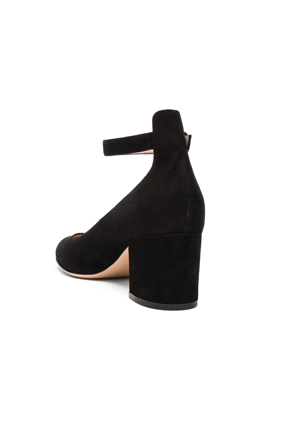 Image 3 of Gianvito Rossi Suede Ankle Strap Flats in Black