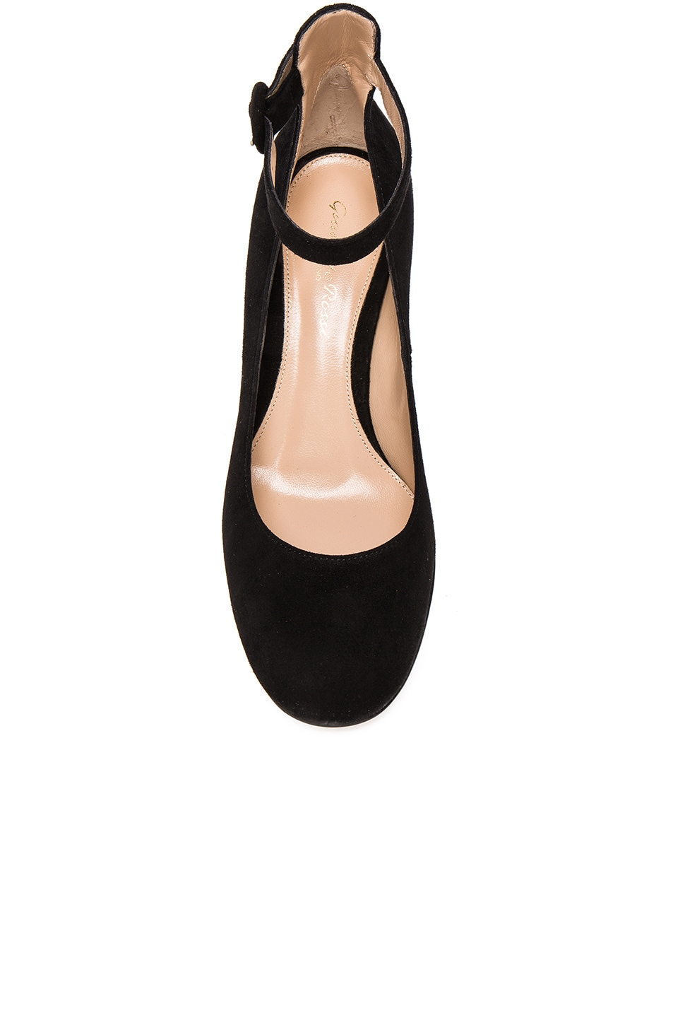 Image 4 of Gianvito Rossi Suede Ankle Strap Flats in Black