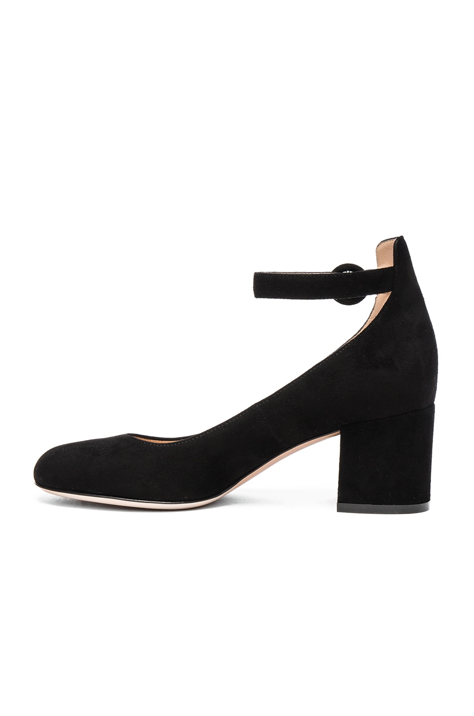 Image 5 of Gianvito Rossi Suede Ankle Strap Flats in Black