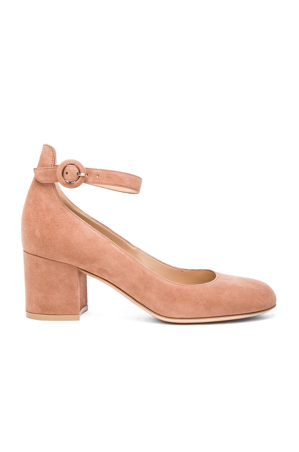 Image 1 of Gianvito Rossi Suede Ankle Strap Flats in Praline