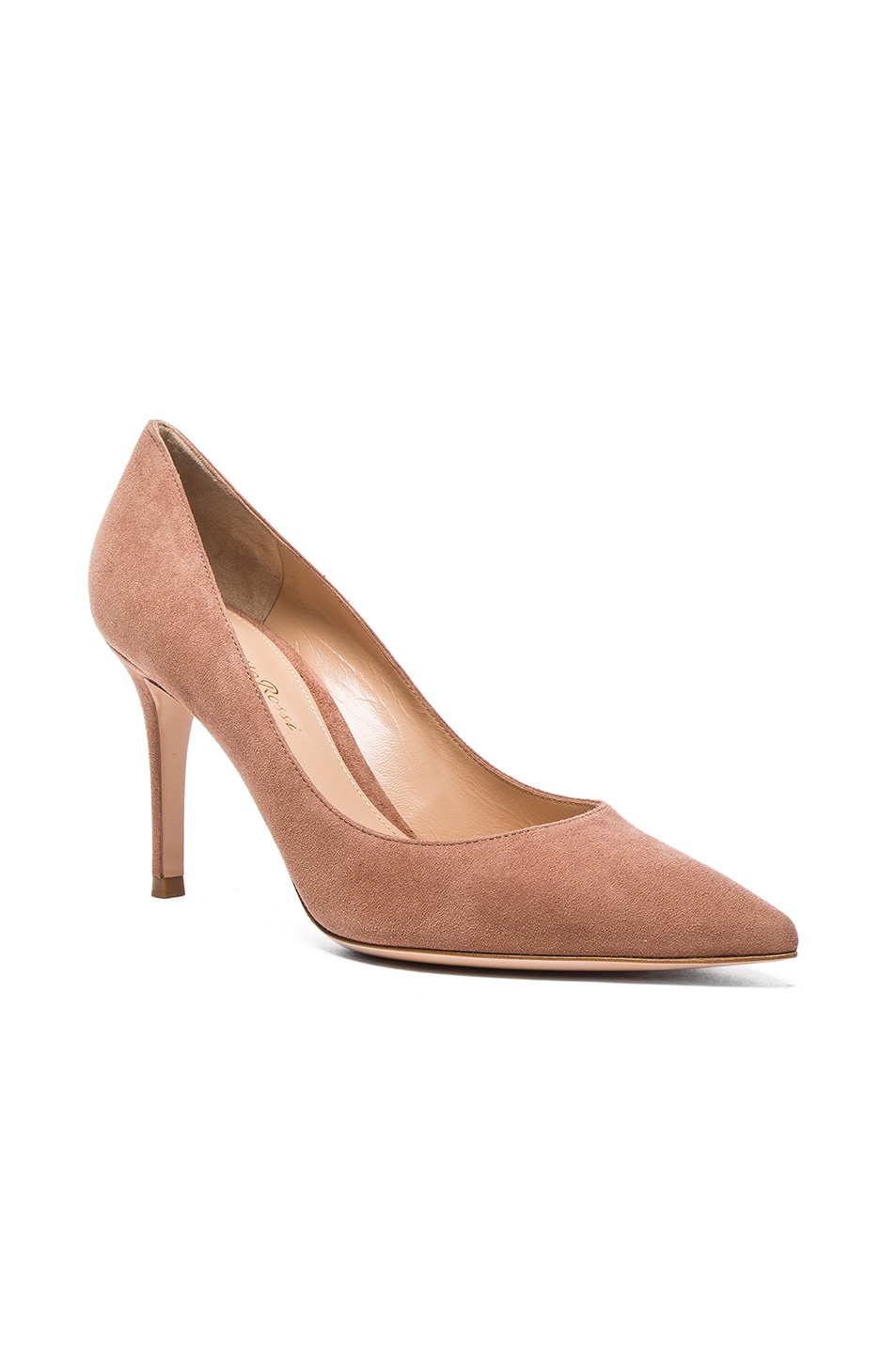 Image 2 of Gianvito Rossi Suede Gianvito Heels in Praline