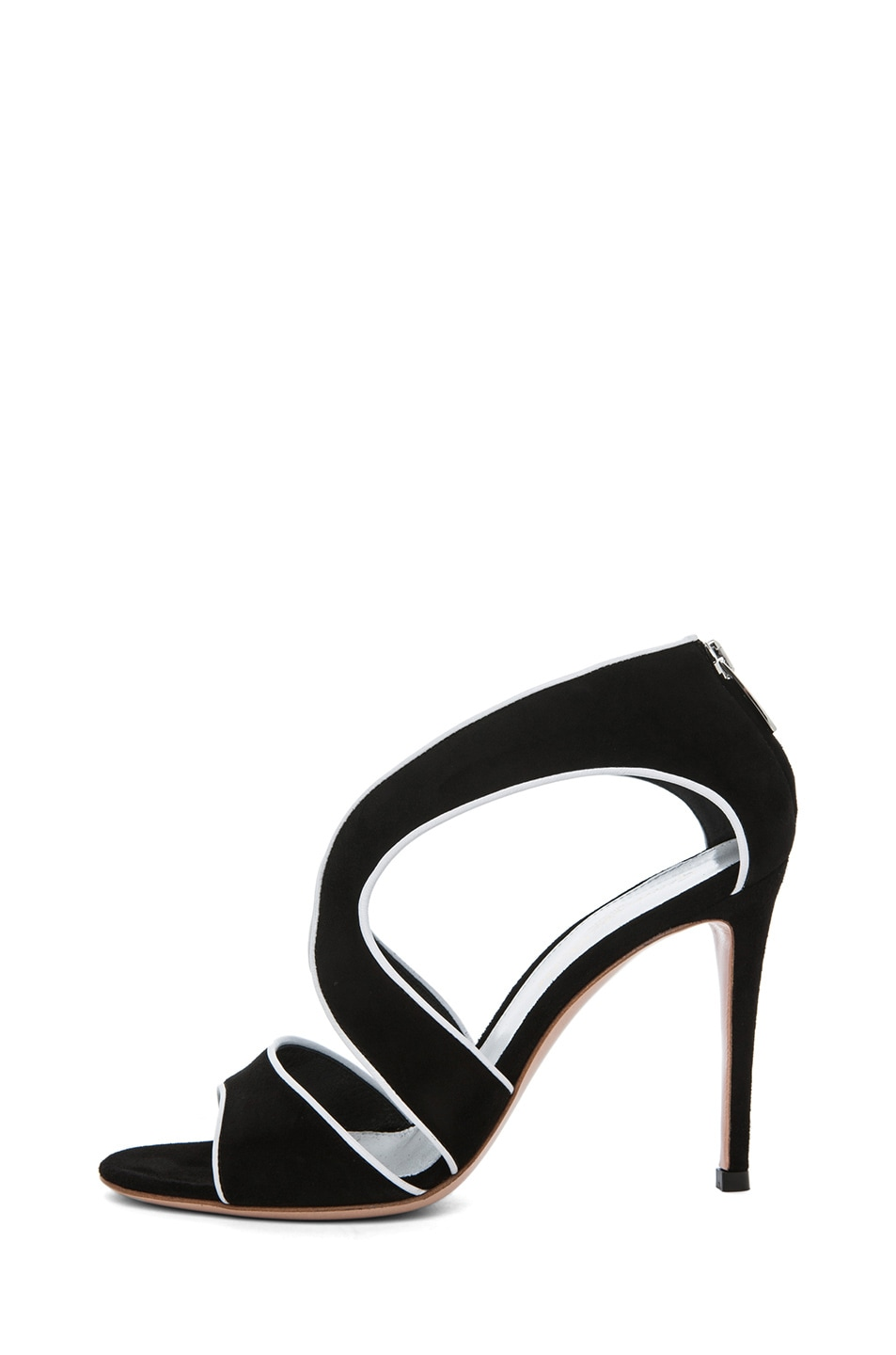 Image 1 of Gianvito Rossi Suede White Contrast Heel in Black