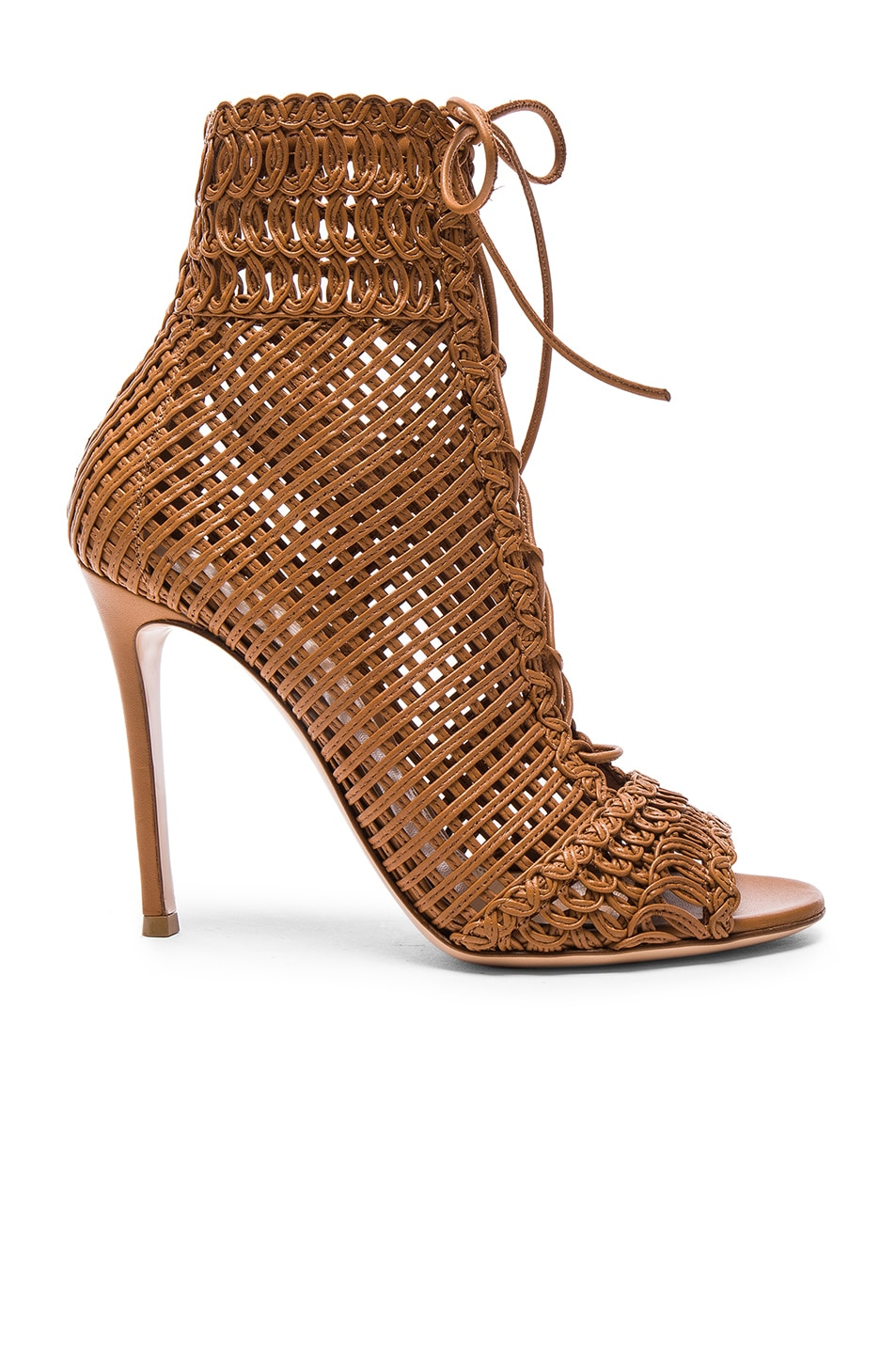 Image 1 of Gianvito Rossi Woven Leather Booties in Almond