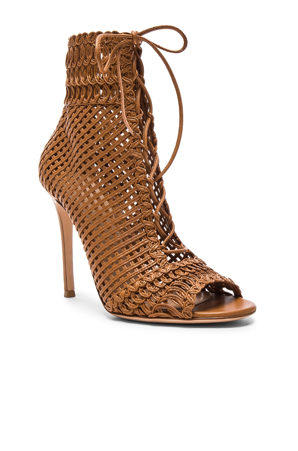 Image 2 of Gianvito Rossi Woven Leather Booties in Almond