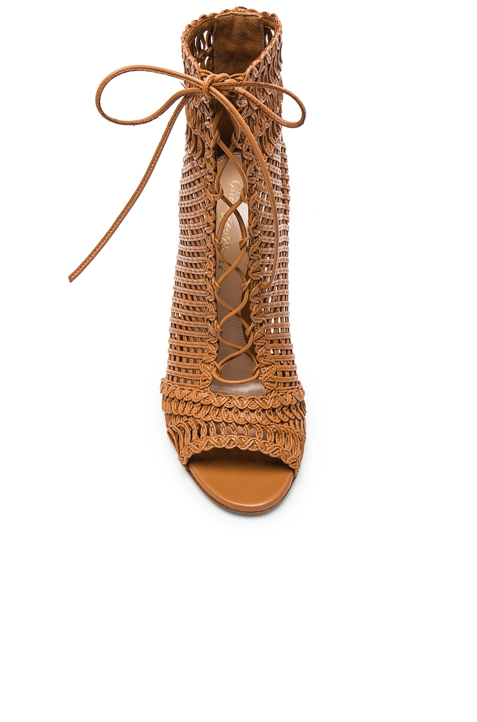 Image 4 of Gianvito Rossi Woven Leather Booties in Almond