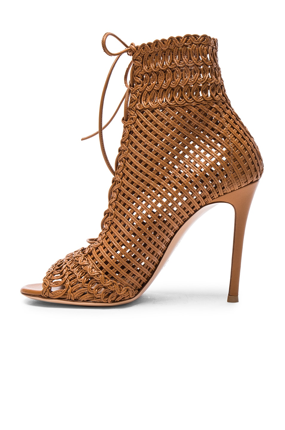 Image 5 of Gianvito Rossi Woven Leather Booties in Almond