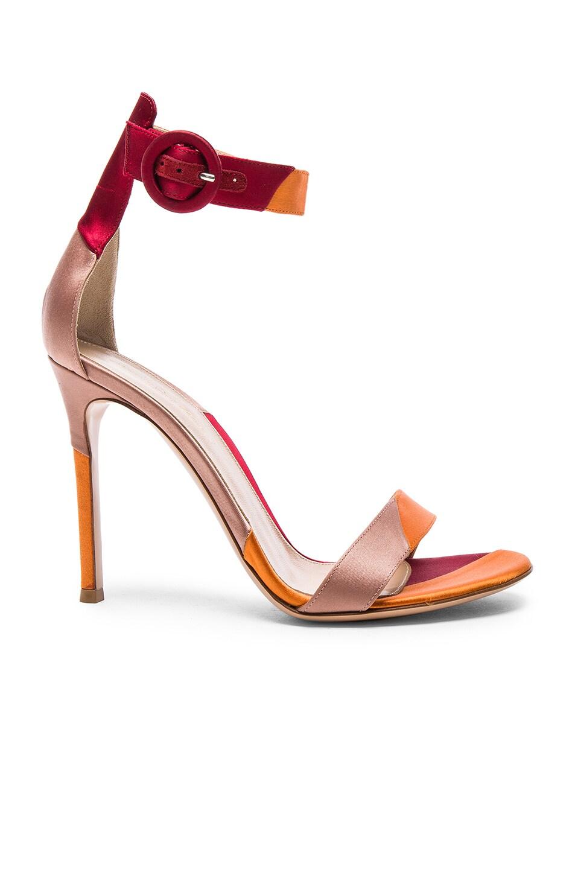 Image 1 of Gianvito Rossi Satin Portofino Heels in Spritz, Granata & Praline