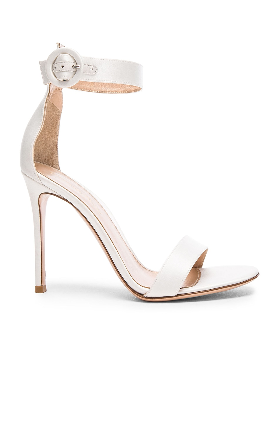Image 1 of Gianvito Rossi Satin Portofino Heels in Off White