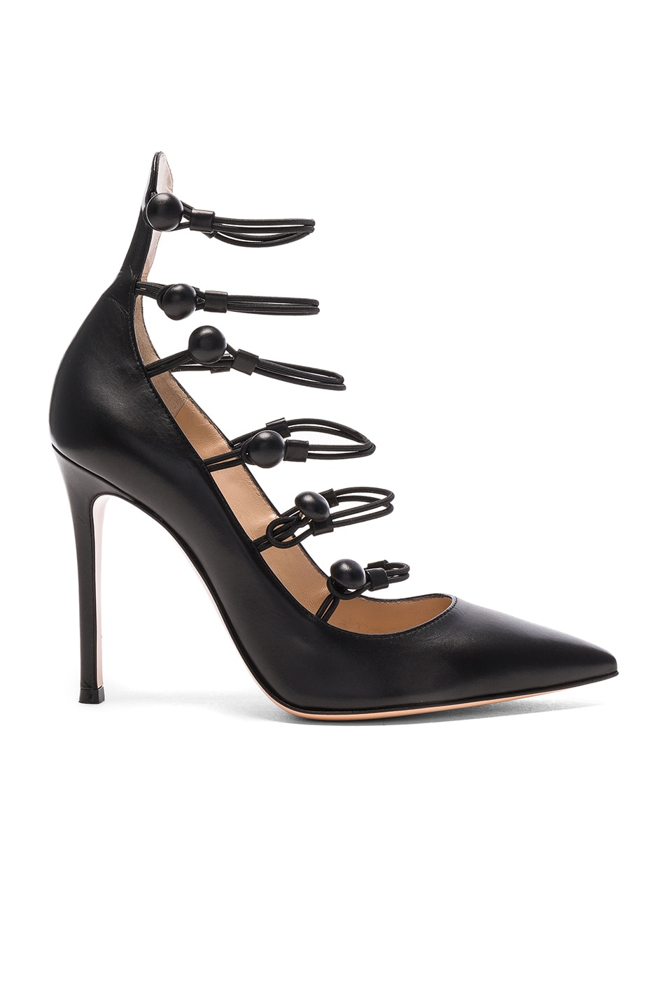 Image 1 of Gianvito Rossi Leather Strap Sandals in Black