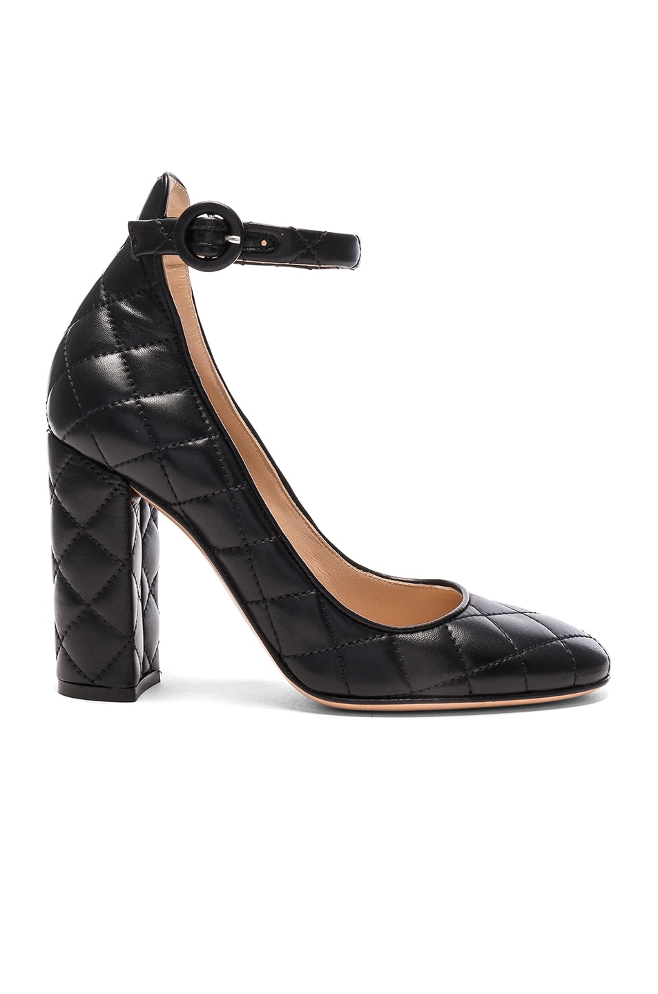 Image 1 of Gianvito Rossi Quilted Leather Heels in Black