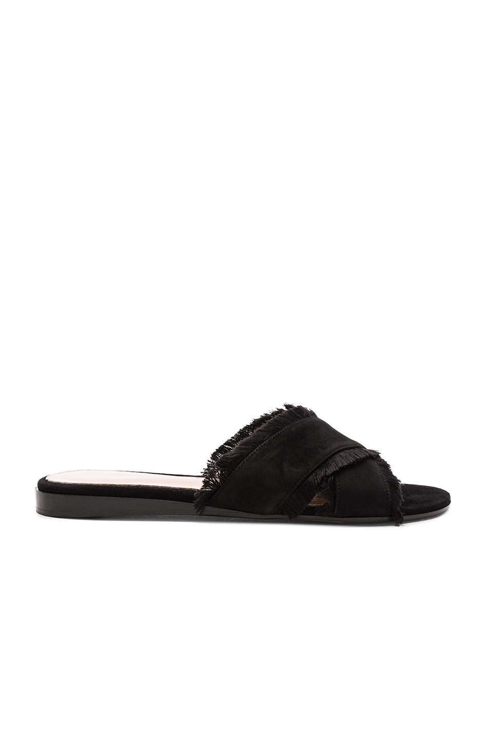 Image 1 of Gianvito Rossi Suede & Satin Flat Sandals in Black