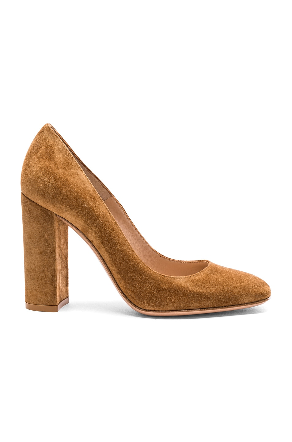 Image 1 of Gianvito Rossi Suede Chunky Heels in Almond
