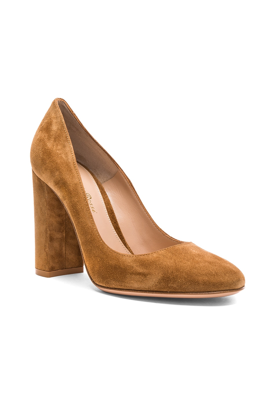 Image 2 of Gianvito Rossi Suede Chunky Heels in Almond