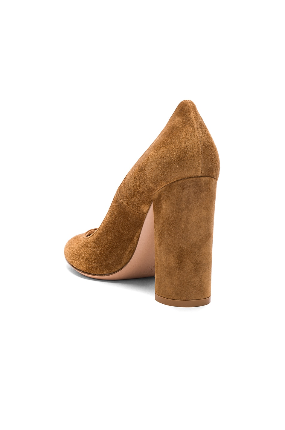 Image 3 of Gianvito Rossi Suede Chunky Heels in Almond
