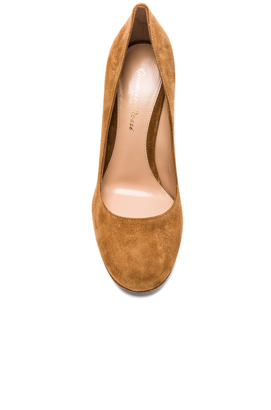 Image 4 of Gianvito Rossi Suede Chunky Heels in Almond