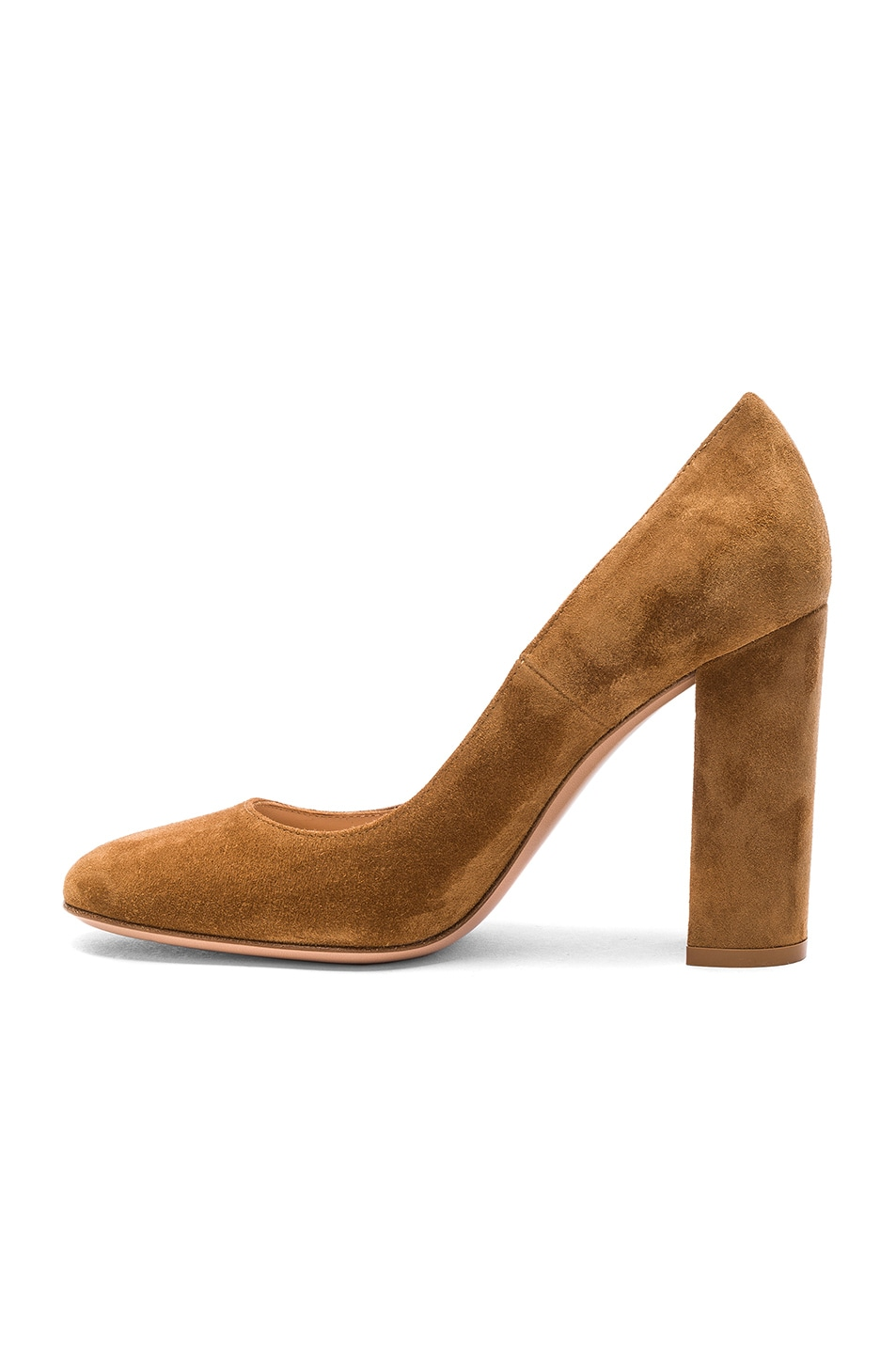 Image 5 of Gianvito Rossi Suede Chunky Heels in Almond