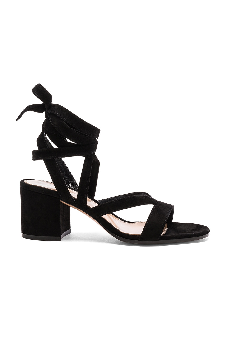 Image 1 of Gianvito Rossi Suede Janis Low Sandals in Black