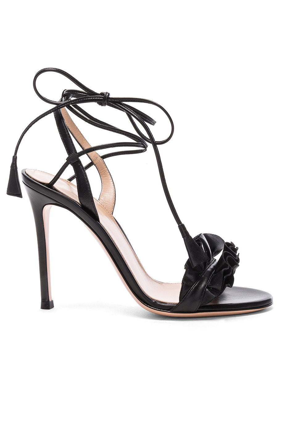 Image 1 of Gianvito Rossi Leather Ruffle Heels in Black