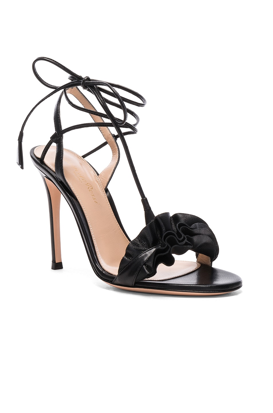 Image 2 of Gianvito Rossi Leather Ruffle Heels in Black