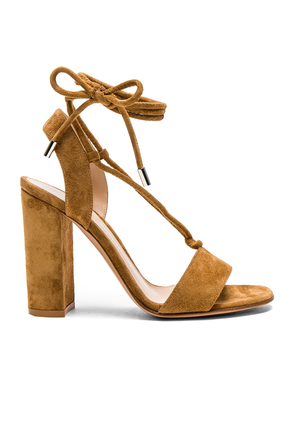 Image 1 of Gianvito Rossi Suede Lace Up Heels in Almond