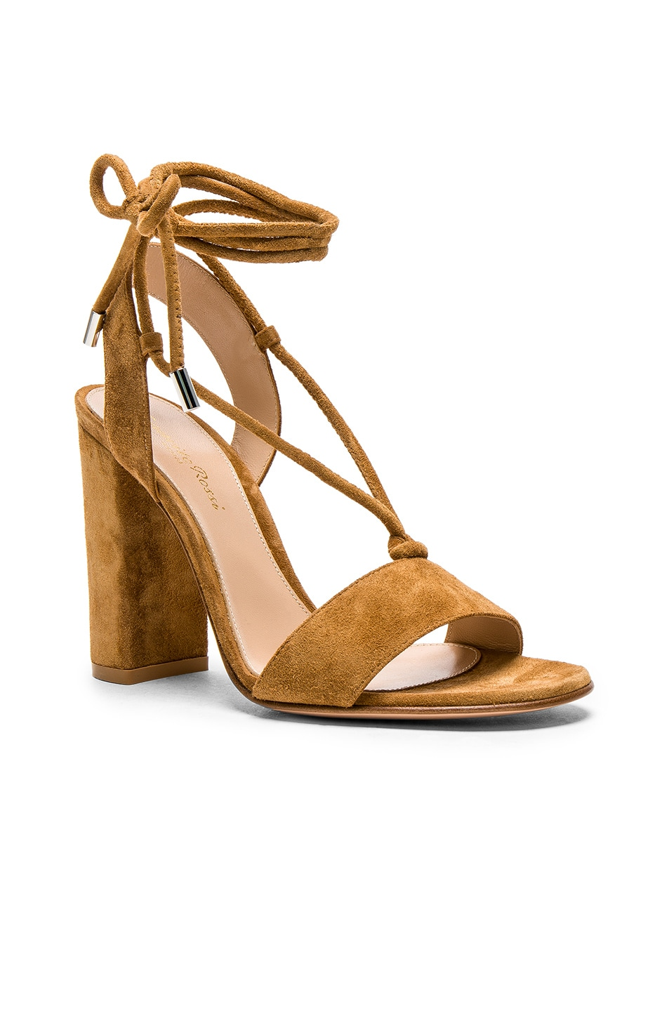 Image 2 of Gianvito Rossi Suede Lace Up Heels in Almond