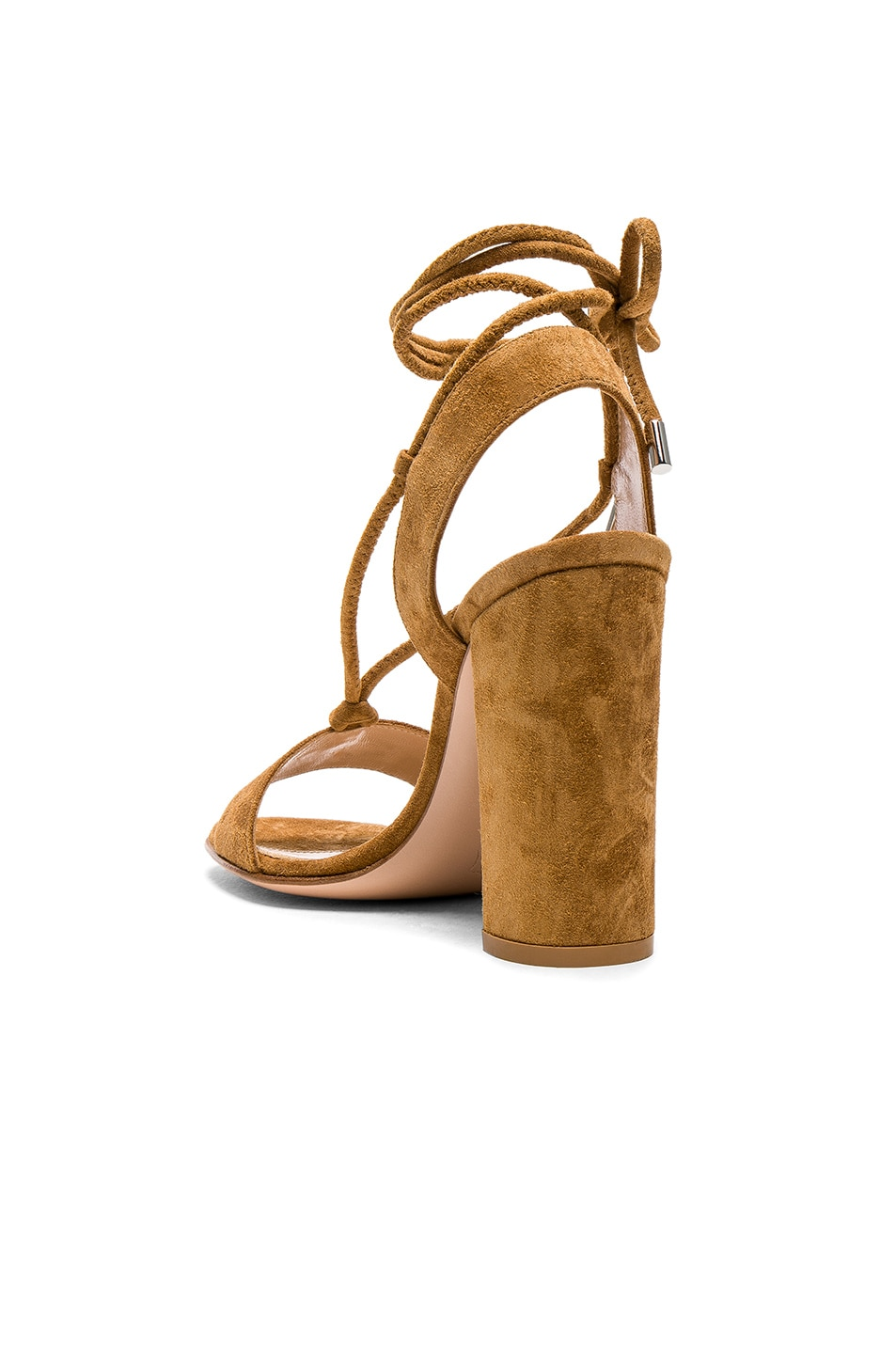 Image 3 of Gianvito Rossi Suede Lace Up Heels in Almond