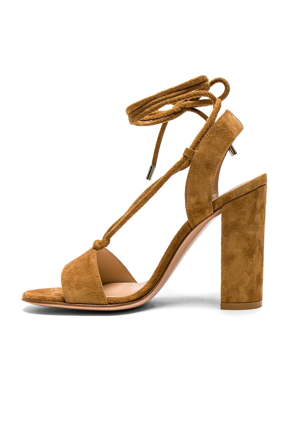 Image 5 of Gianvito Rossi Suede Lace Up Heels in Almond