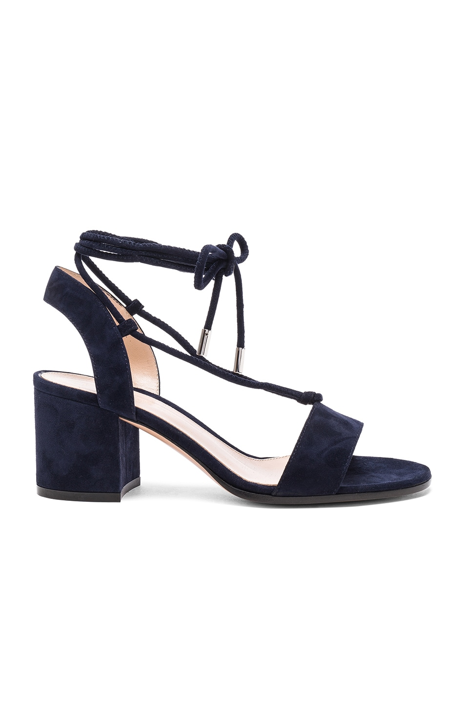 Image 1 of Gianvito Rossi Suede Lace Up Leather Sandals in Denim