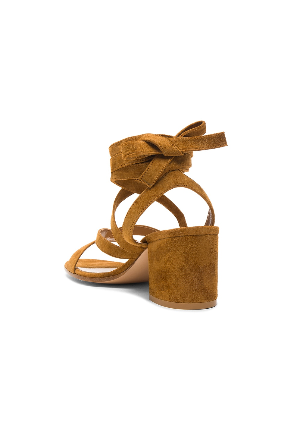 Image 3 of Gianvito Rossi Suede Janis Low Sandals in Almond